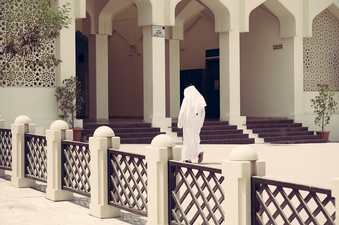 A man entering the Mosque