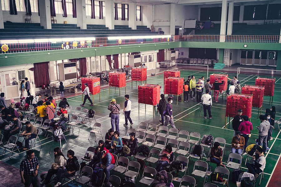 Yanhsui Fireworks Festival  - The school gymnasium, where we prepared the rocket rackets